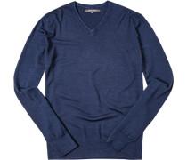 Herren Pullover Schurwoll-Seiden-MIx marine meliert blau