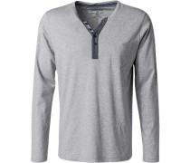 Schlafanzug Longsleeve Baumwolle-Modal hellgrau meliert