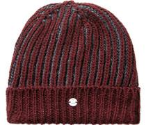Mütze Wolle bordeaux-grau gestreift