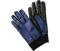 Herren ROECKL Handschuhe Haarschaf-Nappaleder schwarz-blau
