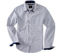 Herren Hemd Streifen in navy-weiß multicolor