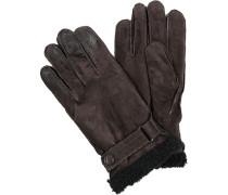 Herren strellson Handschuhe Velourleder dunkelbraun