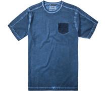 Herren T-Shirt Baumwoll-Jersey nachtblau meliert