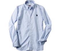 Herren Hemd Regular Fit Popeline dunkelblau-weiß gestreift