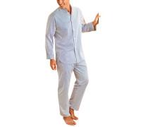 Herren Schlafanzug Pyjama Baumwolle weiß-blau gestreift blau,weiß