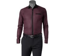 Hemd, Ultra Slim Fit, Popeline, bordeaux-schwarz