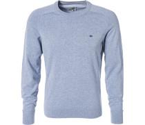 Pullover, Baumwolle, bleu meliert