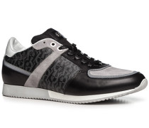 Herren Schuhe Sneaker Kalbleder-Mix schwarz gemustert schwarz,weiß