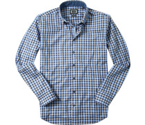 Herren Hemd Modern Fit Feintwill blau kariert