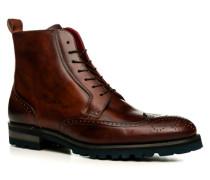 Herren Schuhe Schnürstiefeletten Leder terra braun,rot