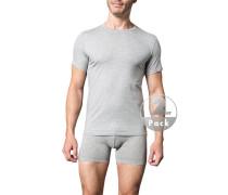 Herren T-Shirts Baumwoll-Stretch hellgrau meliert