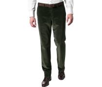 Hose Cordhose Contemporary Fit Baumwoll-Stretch tannengrün