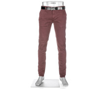 Herren Hose Chino Slim Fit Baumwoll-Stretch bordeaux rot