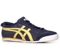 Herren Schuhe Sneaker Leder blau-hellgelb