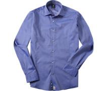 Herren Hemd Modern Fit Strukturgewebe blau meliert