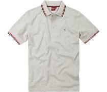 Herren Polo-Shirt Polo Baumwoll-Piqué hellgrau meliert
