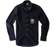 Hemd Regular Fit Baumwoll-Cord marineblau