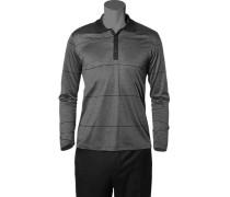 Herren Polo-Shirt Polo Baumwoll-Jersey schwarz-grau gestreift