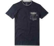 Herren T-Shirt Slim Fit Baumwolle dunkelblau