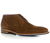 Schuhe Schnürstiefelette, Veloursleder, mittelbraun