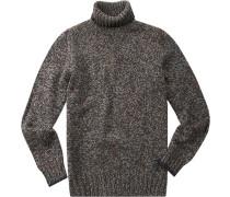 Pullover Schurwolle blau-braun meliert