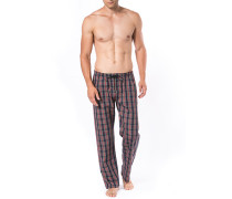 Schlafanzug Pyjamahose Baumwolle navy-rot-grün kariert
