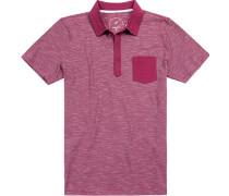 Polo-Shirt Modern Fit Baumwoll-Jersey wildrose-weiß gestreift