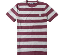 Herren T-Shirt Baumwolle bordeaux-grau gestreift rot,grau