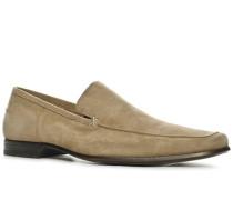 Herren Schuhe Slipper Kalbvelours sand beige