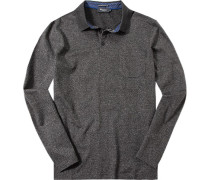 Polo-Shirt Polo, Baumwolle mercerisiert, schwarz- meliert