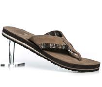 Schuhe Zehensandalen Veloursleder greige