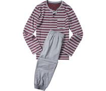 Schlafanzug Pyjama Baumwolle bordeaux-grau gestreift