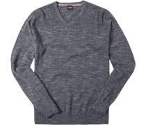Herren Pullover Woll-Mix anthrazit meliert grau