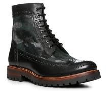 Schuhe Stiefeletten, Leder-Textil,