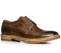 Schuhe Budapester Leder marrone