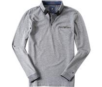 Herren Polo-Shirt Polo Baumwoll-Piqué schwarz-weiß meliert grau