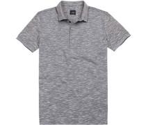 Polo-Shirt Slim Fit Baumwoll-Pique meliert