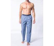 Herren Schlafanzug Pyjamahose Baumwolle bleu-grau gemustert blau