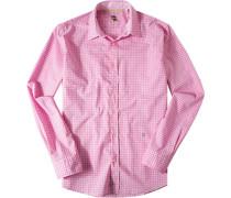 Herren Hemd Strukturgewebe pink-rosa kariert