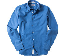 Hemd Modern Fit Baumwolle capriblau gemustert