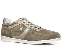 Herren Schuhe Sneaker Glattleder hellbraun braun,weiß