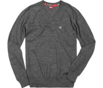 Herren V-Pullover Wolle marl charcoal grau