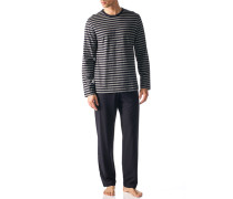 Herren Schlafanzug Pyjama Baumwolle indigo-grau gestreift blau