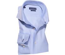 Hemd Slim Fit Baumwolle hellblau-weiß gestreift