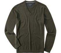 Pullover Baumwolle khaki meliert