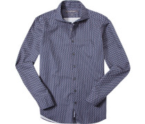 Hemd Shaped Fit Popeline Extra langer Arm dunkelblau floral
