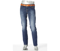 Herren Jeans Regular Slim Fit Baumwoll-Stretch blau