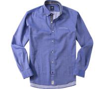 Herren Hemd Strukturgewebe royal-weiß gemustert blau