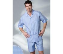Schlafanzug Pyjama Baumwolle in 3 Farben ,grau