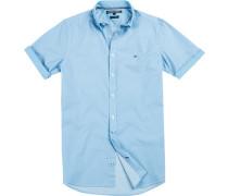 Hemd New York Fit Popeline hellblau-weiß gemustert